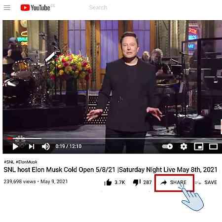 youtube videos ohne cookies: Share Button klicken
